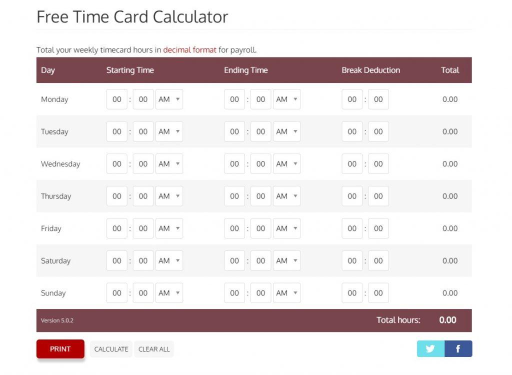 Redcort Time Card Calculator